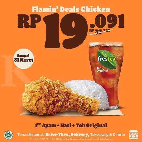 Promo Burger King 1-31 Maret 2021, Flamin' Deals Chicken mulai Rp 19.091