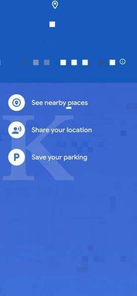 Tampilan menu di Google Maps