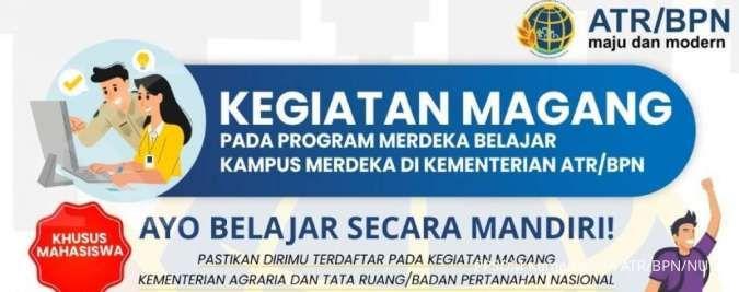 Ada lowongan kerja magang buat mahasiswa di Kementerian ATR BPN, cek infonya ini