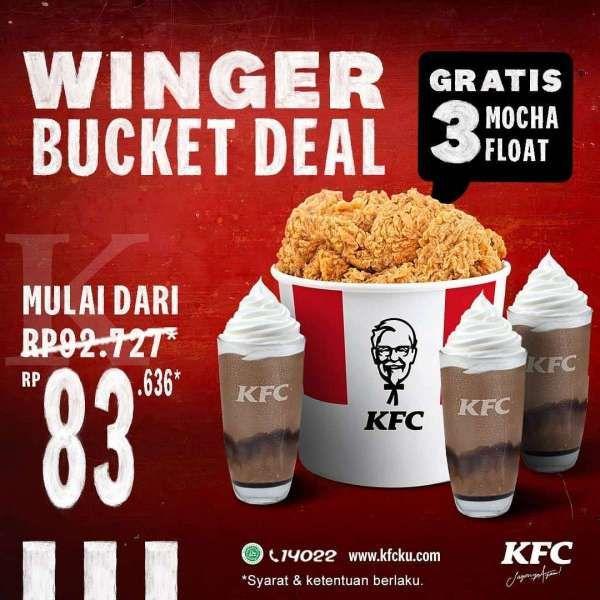 Winger bucket dan 3 mocha float hanya Rp 83.636, promo KFC hari ini 26 Februari 2021