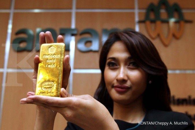 Emas global turun, emas Antam tetap mengkilap