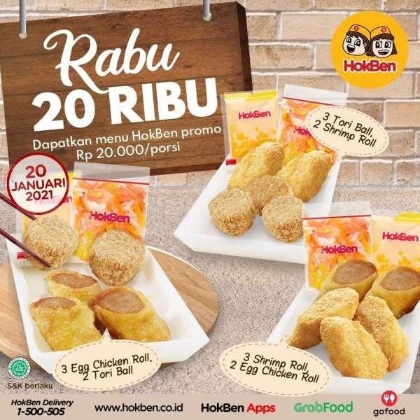 Promo HokBen hari ini 20 Januari 2021, Rp 20.000 per porsi!