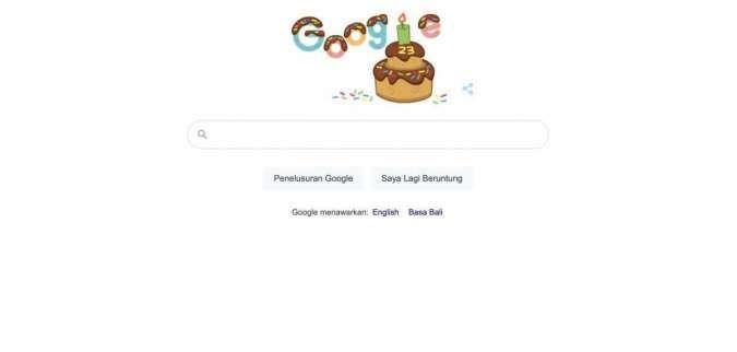 Google Doodle hari ini tampilkan kue, rayakan ulang tahun mesin pencari yang ke-23