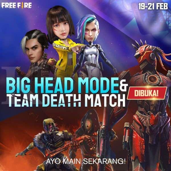 Free Fire buka Big Head Mode dan Team Death Match dalam waktu terbatas