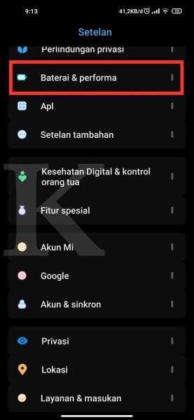Menu Baterai & performa di HP Xiaomi