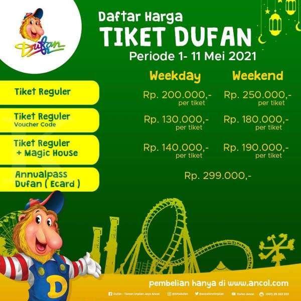 Promo tiket masuk Dufan 1-11 Mei 2021