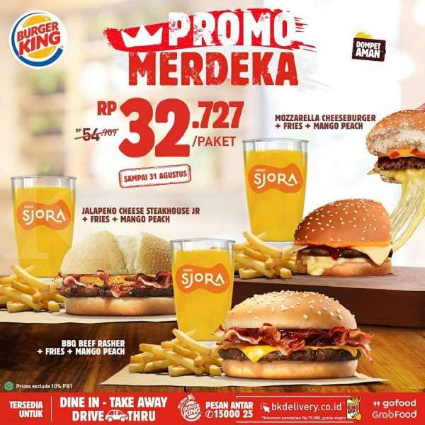 Ada promo HUT RI dari McD, KFC, Pizza Hut, Jco, Breadtalk dan Burger King