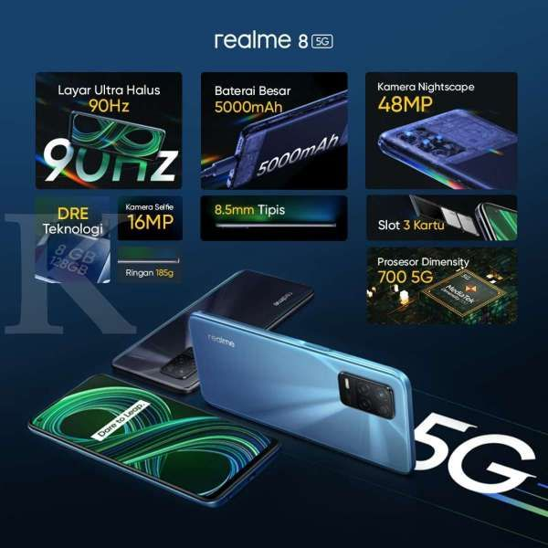 Harga HP Realme 8 5G yang hanya Rp 3 jutaan membuat seri ini jadi salah satu HP 5G termurah di Indonesia saat ini.