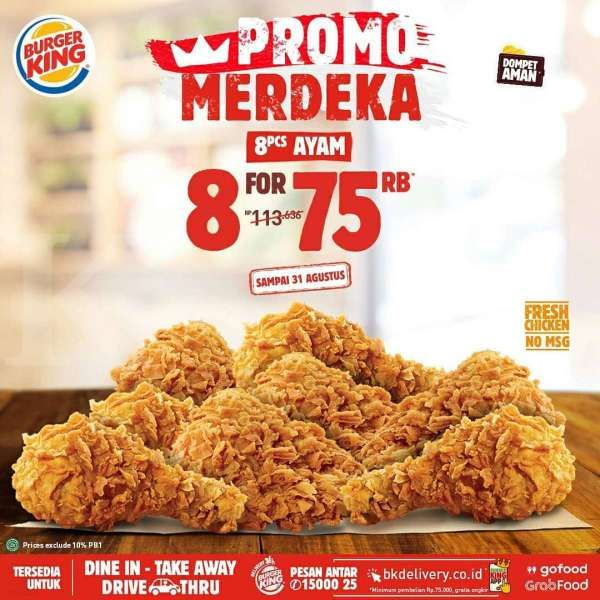 Promo Burger King spesial HUT RI ke-75