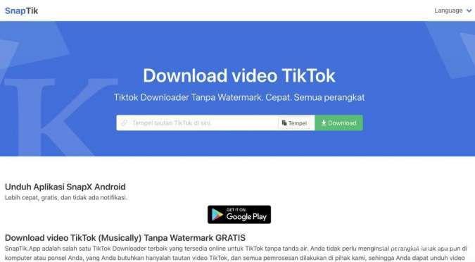 Snaptik.app situs download video TikTok tanpa watermark