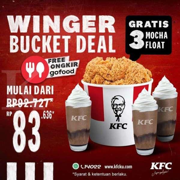 Paling baru! Promo KFC 23-31 Maret 2021, Winger Bucket dan 3 Mocha Float Rp 83.636
