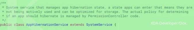 Cuplikan kode fitur Hibernasi Android 12