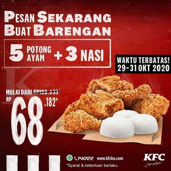 Promo KFC periode 29-31 Oktober 2020, 5 potong ayam dan 3 ...