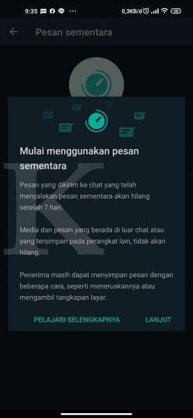 Informasi terkait pesan sementara di WhatsApp