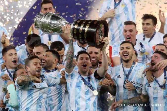 Lionel Messi bersama Timnas Argentina juara Copa America