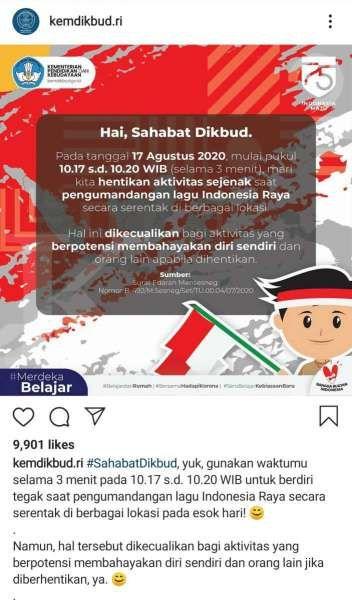 Himbauan menyanyikan lagu Indonesia Raya