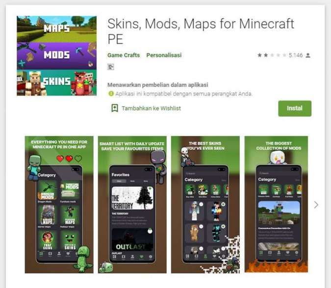 Skins, Mods, Maps for Minecraft PE - Playstore