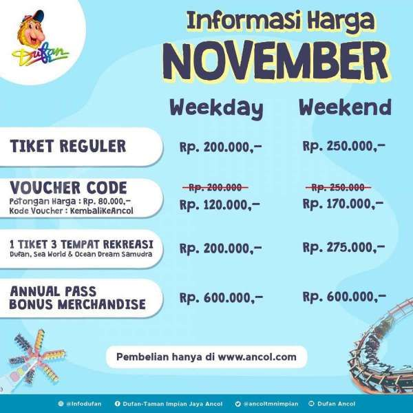 Tiket masuk Dufan bulan November 2020