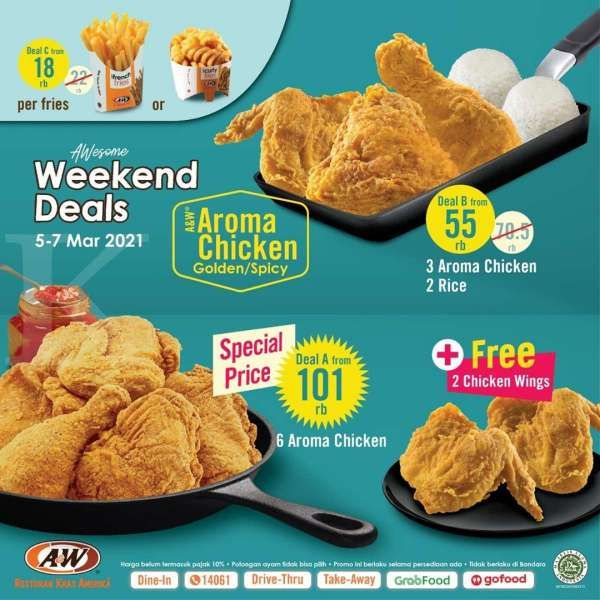 Cek promo A&W 5-7 Maret 2021, Awesome Weekend Deals mulai Rp 18.000