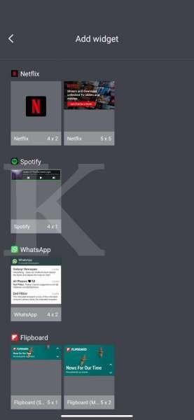 Tampilan menu pilihan widget