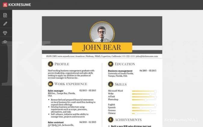 Website penyedia template CV Kickresume