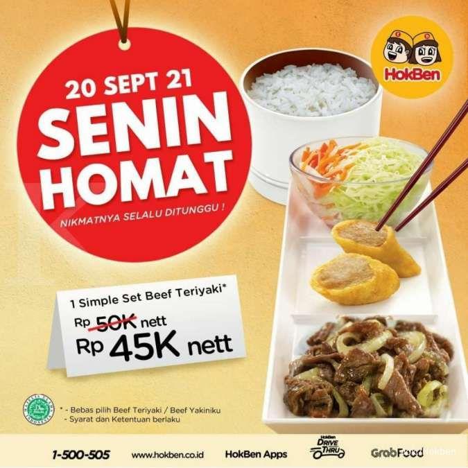 Promo Hokben 20 September 2021, Senin Homat 1 Simple Set Beef Teriyaki Rp 45.000