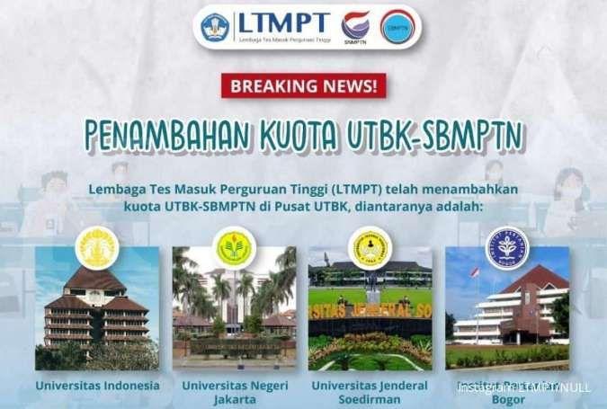 Pendaftar banyak, kuota di pusat UTBK-SBMPTN 2021 UI, UNJ, Unsoed & IPB ditambah