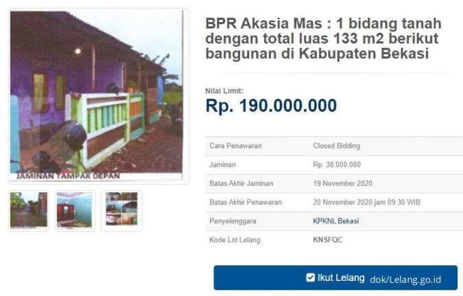 Cuma Rp 100an juta, lelang rumah sitaan bank di Bekasi akan ditutup hari ini