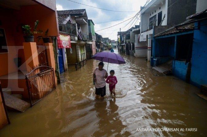 Ilustrasi banjir di Bandung. ANTARA FOTO/Raisan Al Farisi/aww.