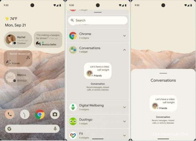 Tampilan antarmuka awal Android 12