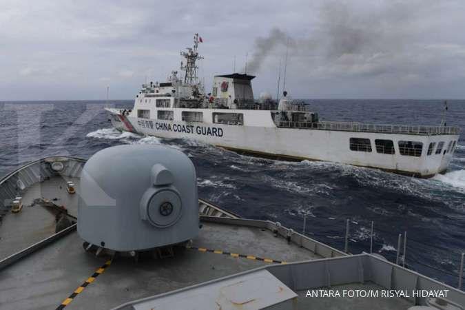 Ilustrasi kapal coast guard China di wilayah ZEE Indonesia. ANTARA FOTO/M Risyal Hidayat/pd.