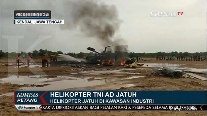 Helikopter TNI AD jatuh di Kaliwungu, Kendal, Jawa Tengah tewaskan 3 penumpang