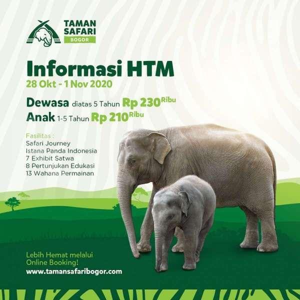 Harga tiket masuk Taman Safari Bogor periode 28 Oktober-1 November