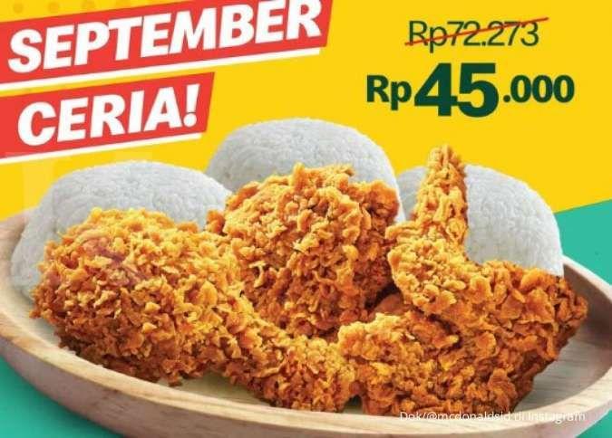 Promo McD 17-21 September, dapatkan 3 ayam goreng dan 3 nasi hanya Rp 45.000 saja