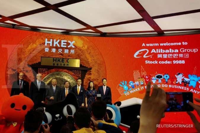Debut perdana, saham Alibaba naik 6,6% dan nilai transaksi tembus US$ 1,78 miliar