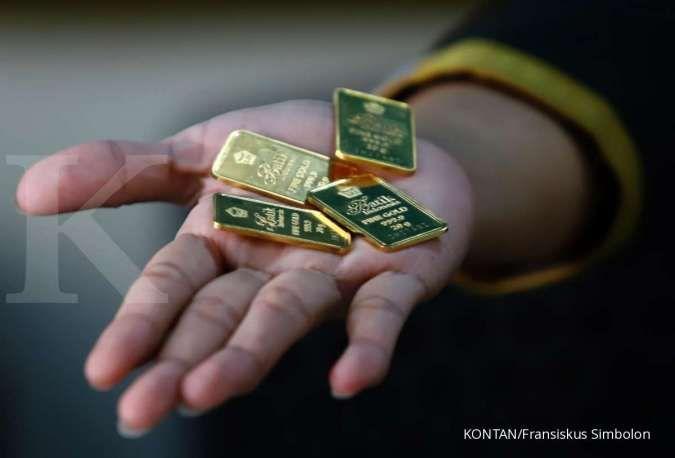 Harga emas Antam turun pada Sabtu kemarin turun sebesar Rp 3.000 per gram