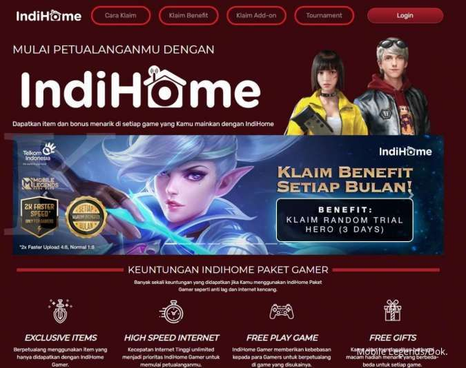 Cara klaim item Mobile Legends gratis khusus pelanggan IndiHome Paket Gamer