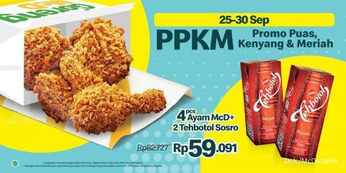 Promo PPKM McDonalds 25-30 September 2021, 4 Ayam + 2 Teh Botol Rp 59.091
