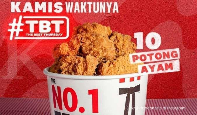 Promo KFC 14 Oktober 2021, The Best Thursday TBT Rp 90.000 Dapat 10 Ayam