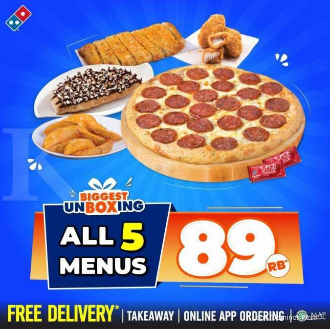 Promo Dominos Pizza 22 September 2021, The Biggest Unboxing Isi 5 Menu Cuma Rp 89.000