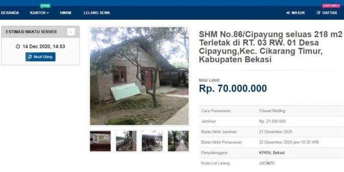Lelang rumah di Bekasi sitaan Bank Mandiri harga Rp 70 juta ditutup hari ini