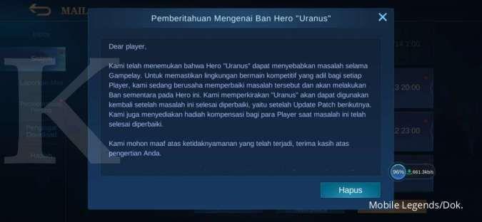 Pengumuman ban Uranus Mobile Legends