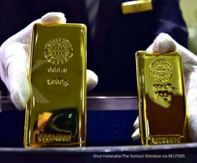 Harga emas spot melemah ke US$ 1.809 per ons troi pada pagi ini (2/8)