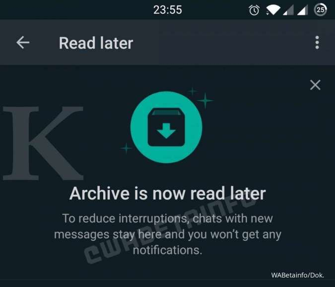 Read Later di WhatsApp Beta; Credit: WABetainfo