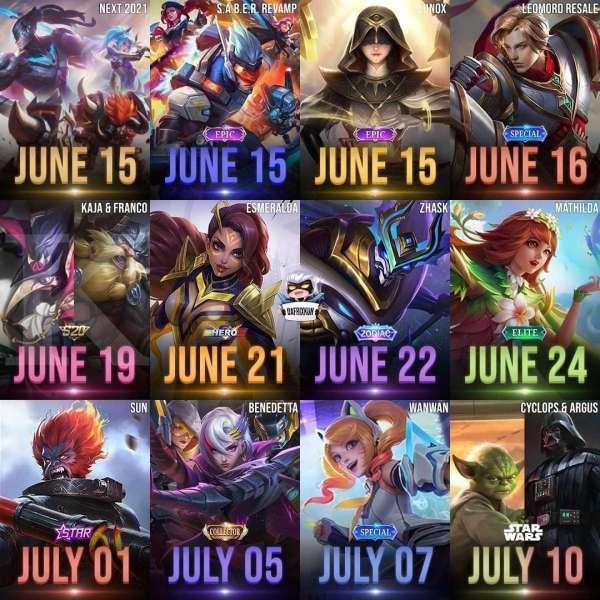 Bocoran skin Mobile Legends rilis Juni 2021