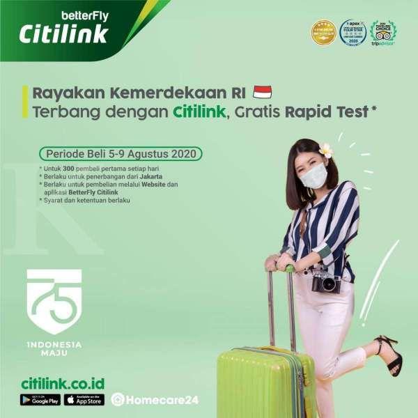 Maskapai Citilink bekerja sama dengan jaringan klinik Homecare24 menyediakan layanan khusus gratis Rapid Test COVID-19 bagi pelanggan Citilink yang melakukan pembelian tiket melalui website dan mobile apps Citilink pada periode 5-9 Agustus 2020.