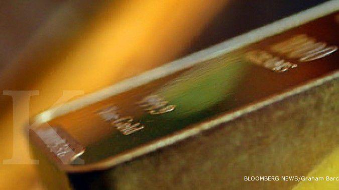 Emas naik tipis ditopang melemahnya dollar AS
