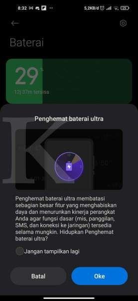 Fitur penghemat baterai ultra di HP Xiaomi
