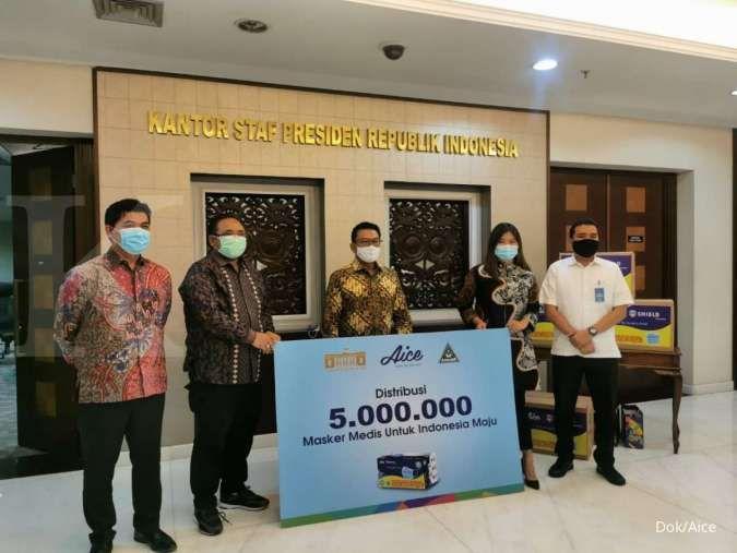 Gerakan Pentahelix 5 juta masker medis oleh GP Ansor, Aice dan Kantor Staf Presiden