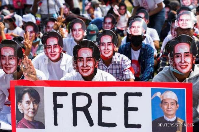 Demonstrasi menentang junta militer di Myanmar terus berlanjut